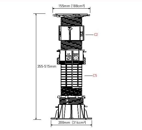 Buzon terasų atrama DPH-8 (355-515mm)